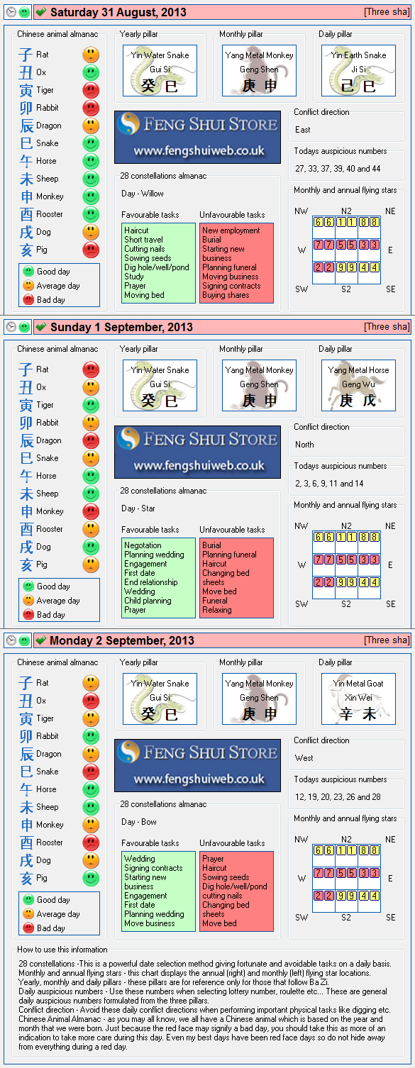 Tong Shu Almanac for Saturday 31st August - Monday 2nd September 2013