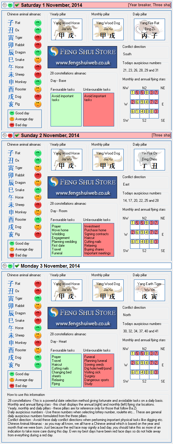 Tong Shu Almanac for Saturday 1st - Monday 3rd November 2014