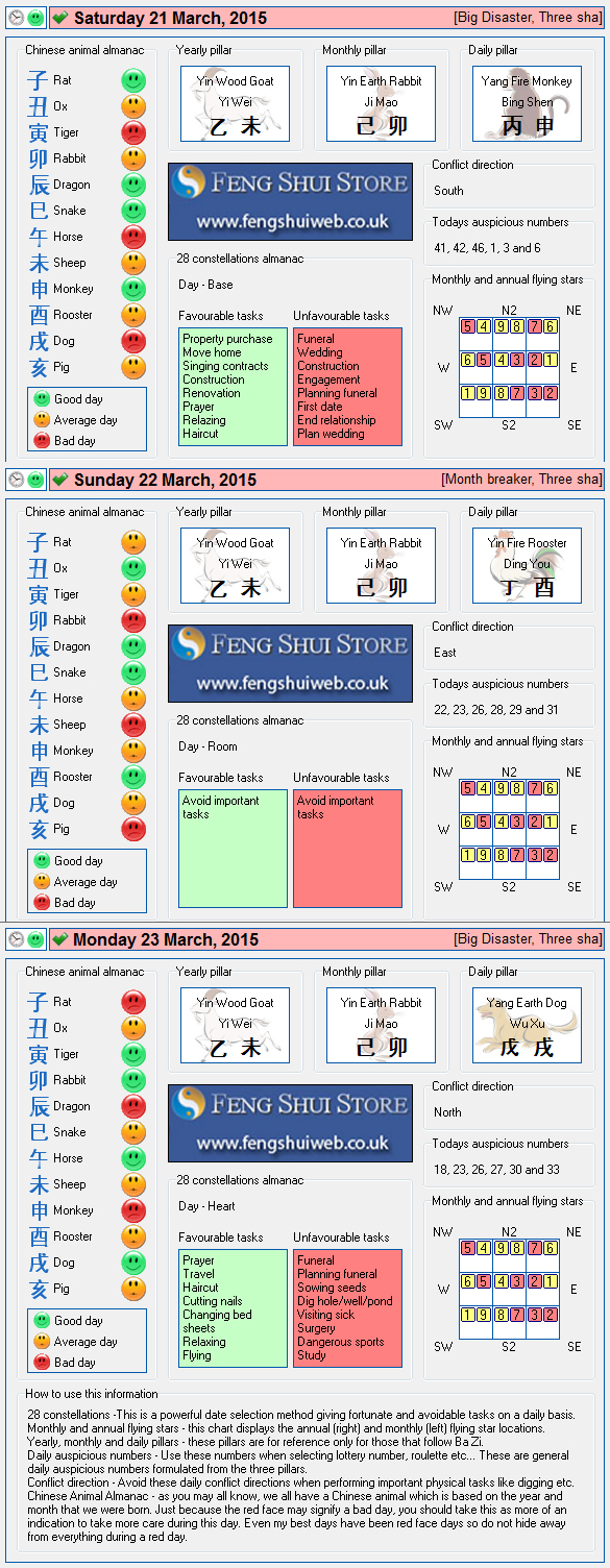 Tong Shu Almanac for Saturay 21st - Monday 23rd March 2015